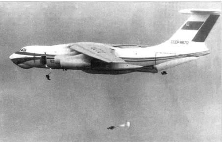Первый опытный Ил-76 СССР-86712 в ходе проведения испытаний по оценке безопасности аварийного покидания самолета