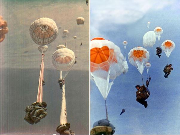 Десантирование с использованием парашютов Д-1-8 серии 3 (слева) и Д-5 серии 2